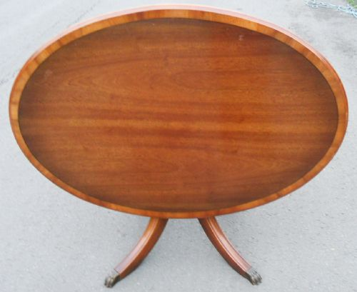 Large Oval Mahogany Pedestal Coffee Table